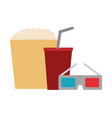 cinema glasses and popcorn isolated icon vector image