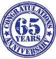 Congratulations 65 years anniversary grunge rubber vector image vector image