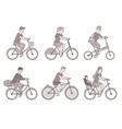 cyclists set men and women on bikes vector image