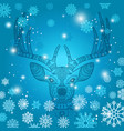 deer and snowflakes doodle background vector image