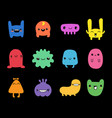 doodle monsters set colorful funny cute kawaii vector image vector image
