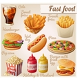 fast food set cartoon food icons vector image vector image
