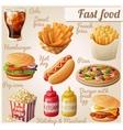 fast food set cartoon food icons vector image
