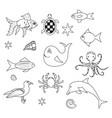 fish on white background marine outline set vector image