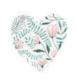 floral pattern in heart shape love design vector image vector image