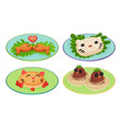 funny animal shaped dishes with eyes vector image vector image
