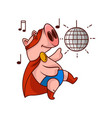 funny pig superhero in dancing action party with vector image
