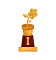 golden statuette of flower pot floristry and vector image vector image
