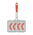 grill on the grilles sausage icon flat style vector image
