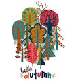 hand drawn forest autumn vector image