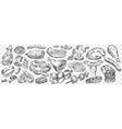hand drawn meat doodle set vector image vector image