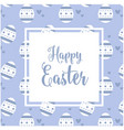 happy easter square eggs blue background im vector image
