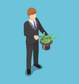 isometric businessman use a magic trick to making vector image vector image