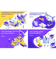 isometric set article for education vector image vector image