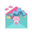 loving cat fall in love sitting in envelope vector image