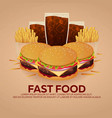 lunch with french fries burger and soda takeaway vector image vector image