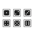 monochrome pixel-art pixelated black dices with vector image vector image