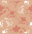 peach and white florals seamless pattern vector image vector image