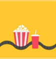 popcorn box soda glass with straw film strip line vector image