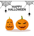 pumpkins spider web happy halloween holiday vector image