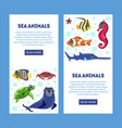 sea animals landing page with cute colorful vector image vector image