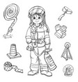 set characters profession firefighter with vector image