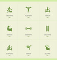 set of 9 editable training icons includes symbols vector image