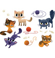 Set of funny cats vector image vector image