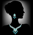 silhouette with necklace vector image