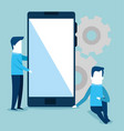 smartphone with gears and teamwork vector image