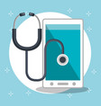 smartphone with medical services app vector image vector image