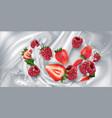 strawberries and raspberries in a stream milk vector image