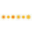 sun icon set isolated vector image vector image