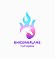unicorn flame abstract sign symbol or logo vector image vector image