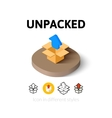 Unpacked icon in different style vector image vector image