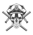 vintage monochrome skull with police headdress vector image vector image