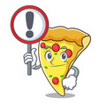 with sign pizza slice character cartoon vector image