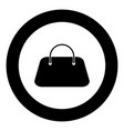 woman bag icon black color in circle vector image