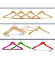 wooden clothes hangers realistic coat vector image vector image