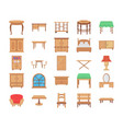 wooden furniture flat icons vector image vector image