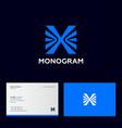 x letter monogram blue letter arrows direction vector image vector image