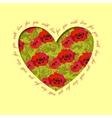 Poppy heart design Floral love card vector image