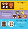 asian food banner horizontal set flat style vector image