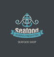 banner for seafood shop with anchor and rope vector image vector image