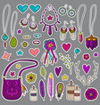 bohemian girly set of stickers vector image vector image