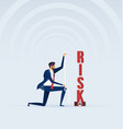 businessman measures a risk with measure tape vector image vector image