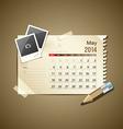 Calendar May 2014 vector image vector image