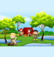 camping kids in the forest vector image