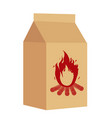 coal in the package for bbq icon flat style vector image