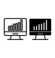 computer chart line and glyph icon computer with vector image vector image
